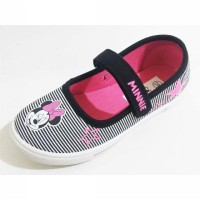 Sepatu Anak Disney Minnie Mouse Slip On Black White Pink Original