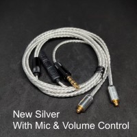 Headset Smooth Sound New Upgrade Silver Plated MMCX Cable Replacement - Silver With Mic
