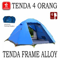 Tenda Camping 4 Orang Frame Alloy Double Layer 2 Pintu