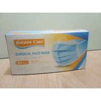 MASKER 3 PLY EARLOOP SURGICAL MURAH BAGUS GOLDEN CARE  1 box isi 50 pcs