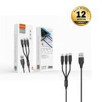 VIDVIE 3in1 USB Cable 3A CB468 (USB to iPhone , Micro & Type-C) - Hitam