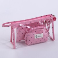 Pouch Kosmetik Transparant 3 in 1 - Pink