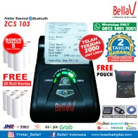 Printer Bluetooth Thermal ZCS 103 support Paytren Kudo I reap + Pouch Biru + 20 Roll Kertas