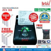 Printer Bluetooth Thermal ZCS 103 support Paytren Kudo I reap + Pouch Biru + 100 Roll Kertas