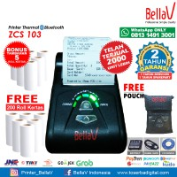 Printer Bluetooth Thermal ZCS 103 support Paytren Kudo I reap + Pouch Biru + 200 Roll Kertas