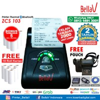 Printer Bluetooth Thermal ZCS 103 support Paytren Kudo I reap + Pouch Hitam + 10 Roll Kertas