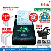 Printer Bluetooth Thermal ZCS 103 support Paytren Kudo I reap + Pouch Hitam + 50 Roll Kertas