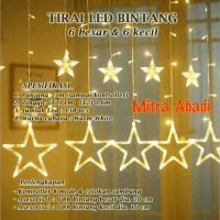 Lampu Natal Tirai LED Bintang Warm White 138 LED 3 Meter