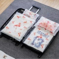 Tas kosmetik transparan cosmetic bag make up case flamingo travel E