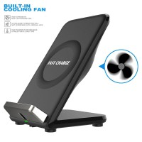 JAKVR Double Coil 10.8W QI Fast Wireless Charger Phone Stand with FAN