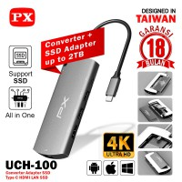 Converter Adapter SSD 2TB Type C to USB HDMI LAN 6 In 1 PX UCH-100
