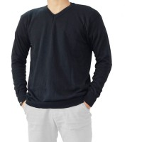 BAJU SWEATER POLOS MODEL V-NECK PREMIUM