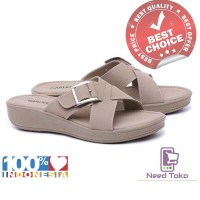 Sandal Wanita Wedges Casual Cream Elegan-GUT 5322