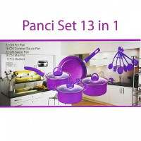 Panci Set 13 in 1 Cookware Alat Masak Teflon Panci Spatula Chef Queen Fry Pan