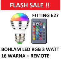 Bohlam Lampu LED 3 W RGB Bulb 3 Watt Remote Control 16 Warna R1 E27 Multi Colors