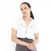 Mobile Power Ladies Bolero Cropped Outer Corduroy - White F8501