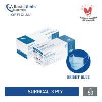 BasicMeds Surgical Mask [BrightBlue/Earloop/50Pcs]