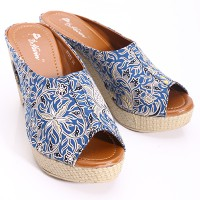 [Free Ongkir*] Dr.Kevin Wedges Sandals Canvas 27273 Biru/Batik , 2685 Blue