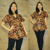 Glow Fashion Ishika Baju Atasan Blouse Kemaja Batik Wanita ALL SIZE FIT TO L