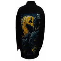 jaket denim printing hitam wolf yellow SKU-56
