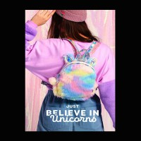 Tas Backpack Girly Unicorn Colorful Furs & Horn (ZH-AC012)