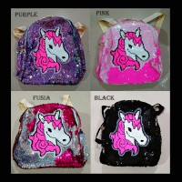 Tas Backpack Sequin Flip Blink Two Face New Pony Unicorn (ZH-AC047)