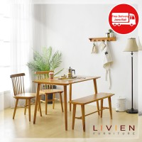 MEJA MAKAN RIBE DINING TABLE 1200 2 Chair 1 Bench