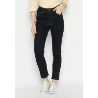 Mobile Power Ladies Long Pants Mama size Jeans - Navy Blue F5946S