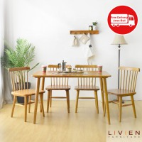 MEJA MAKAN RIBE DINING TABLE 1200 4 Chair 02