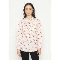 Mobile Power Ladies Long Sleeve Cherry Blouse - Pink MR8159