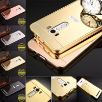 Aluminium Metal Bumper Slide Back Case with Mirror Cover Untuk Asus Zenfone Selfie