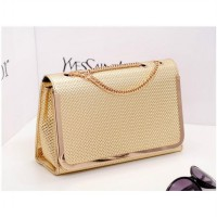 KGS Tas Pesta/Formal Wanita Metal Corner Shoulder Bag - Emas