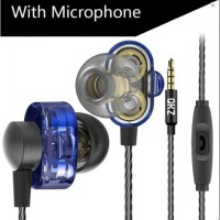 QKZ DM8 Earphones Mini Dual Driver Extra Bass Sound with Microphone