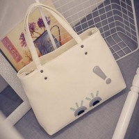 Sh Tote Shoulderbag T1564 Beige,Black PU Leather