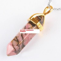 Liontin Point Chakra Natural Rhodonite Pendant Necklace