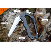 Multifunction 5 in 1 Carabiner Mountaineering Buckle with Knife - Black