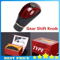 [globalbuy] Peach Wood and PU Leather Car Manual 5-Speed Motor Gear Shift Lever Gear Knob/2960072