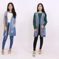 Long Cardigan Motif Bunga - Bahan Denim - 5 variant