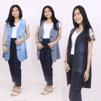 Adore Long Cardigan MJ Biru dan Garis