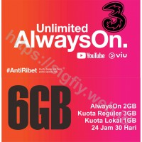Tri Paket Data Internet AlwaysOn 6GB 24 jam