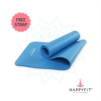 HAPPYFIT MATRAS OLAHAGA NBR - BLUE 10MM /EXERCISE/GYM MAT (+STRAP)