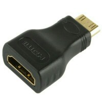 Adapter Mini HDMI to HDMI 19Pin Female Converter Konektor Gold Plated
