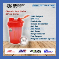 Shaker Blender Bottle Classic 20 oz Coral - air asli botol blenderbottle import minum ml ori original polos shake tumbler US water