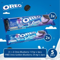 [3 + 2] Oreo Blueberry 137gr x 3pcs FREE Oreo Blueberry 29.4gr x 2pcs