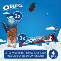 [2 + 2] Oreo Thins Tiramisu 95gr x 2pcs FREE Oreo Chocolate 29.4gr x 2