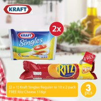[2 + 1] Kraft Singles Reguler Isi 10 x 2 pack + FREE Ritz Cheese 118gr
