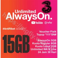 Tri Voucher Paket Data internet AlwaysOn 15GB 24Jam