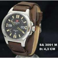Jam Tangan Pria Sport Leather Original Swiss Army Sa3091 Brown Silver Leather//Garansi 1 Tahun