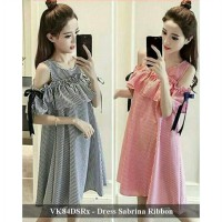 dress murah - pusat dress wanita -VK84DSRx - dress sabrina ribbon