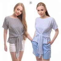 NEW ARRIVAL / SUPERB BEST SELLER / WOMAN BLOUSE / JUMBO SIZE / LETTICIA STRIPES KNOT BLOUSE / 2 WARNA / COTTON IMPORT / GOOD QUALITY!!!